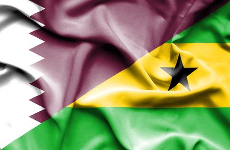 principe: Ondeando la bandera de Santo Tomé y Príncipe y Qatar