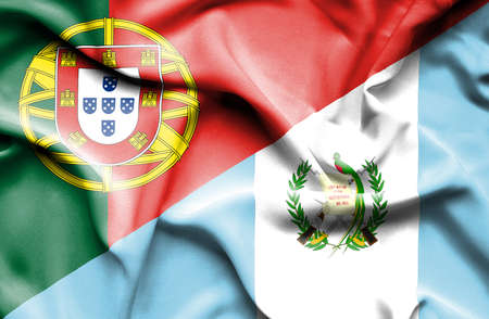 issue: Waving flag of Guatemala and Portugal