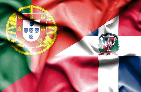 dominican republic: Waving flag of Dominican Republic and Portugal