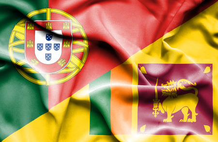 sri lankan flag: Waving flag of Sri Lanka and Portugal