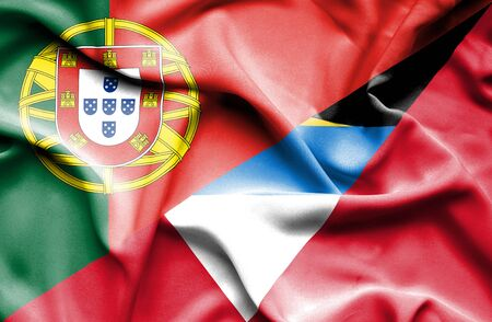 antigua: Waving flag of Antigua and Barbuda and Portugal