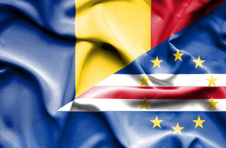 cape verde: Waving flag of Cape Verde and Romania Stock Photo