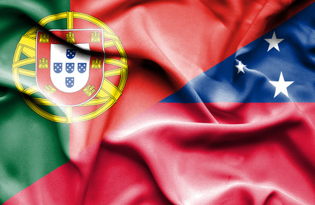 samoa: Waving flag of Samoa and Portugal Stock Photo
