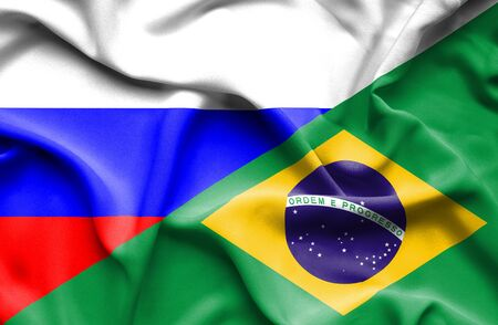 russian flag: Waving flag of Brazil and Russia Stock Photo