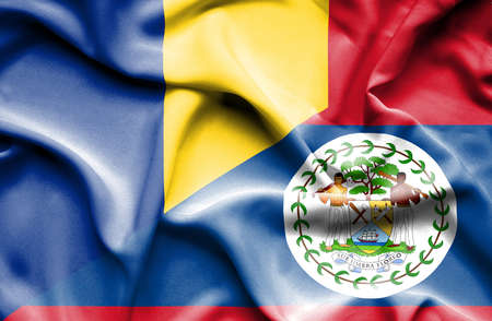 belize: Waving flag of Belize and Romania