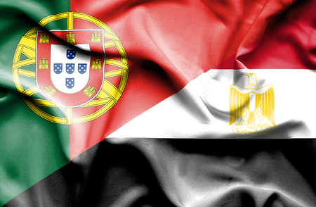 portugese: Waving flag of Egypt and Portugal