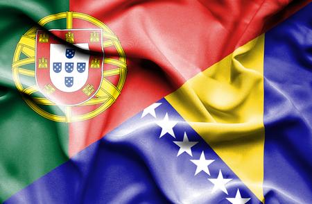 bosnia and herzegovina flag: Waving flag of Bosnia and Herzegovina and Portugal Stock Photo