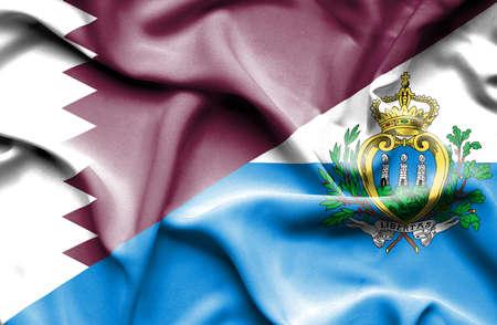 san marino: Waving flag of San Marino and Qatar