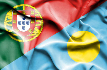 portugese: Waving flag of Palau and Portugal