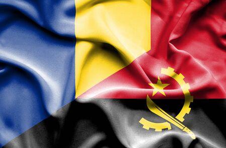 angola: Waving flag of Angola and Romania