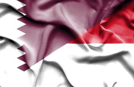 monaco: Waving flag of Monaco and Qatar
