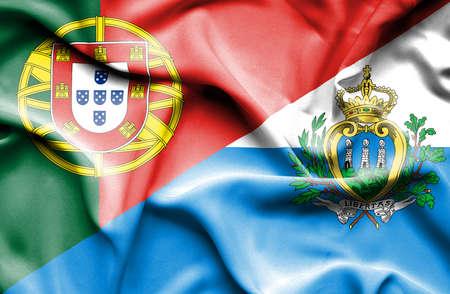 san marino: Waving flag of San Marino and Portugal