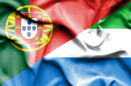 sierra: Waving flag of Sierra Leone and Portugal Stock Photo