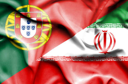 portugese: Waving flag of Iran and Portugal