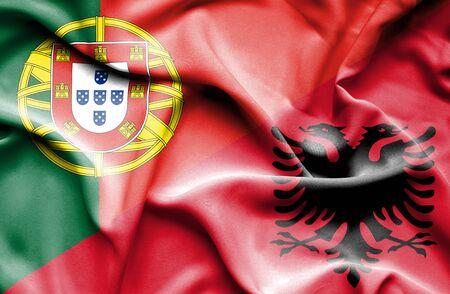 albania: Waving flag of Albania and Portugal