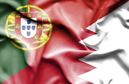 portugese: Bahrain waving flag and  Portugal Stock Photo