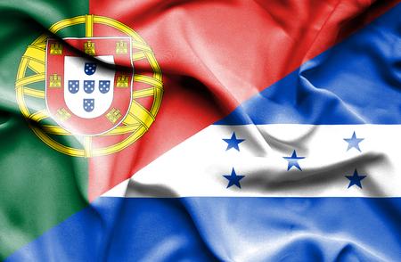 honduras: Waving flag of Honduras and Portugal