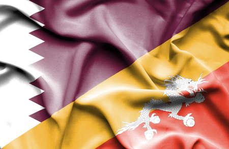 bhutan: Waving flag of Bhutan and Qatar