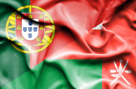 portugese: Waving flag of Oman and Portugal