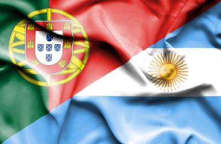portugese: Waving flag of Argentina and Portugal