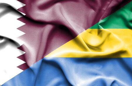 gabon: Waving flag of Gabon and Qatar