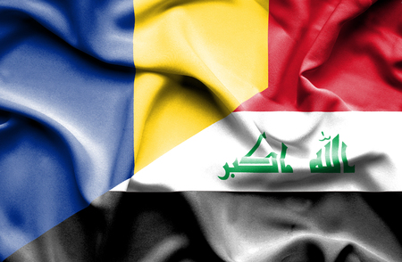 iraq money: Waving flag of Iraq and Romania