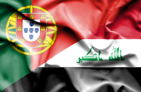 iraq money: Waving flag of Iraq and Portugal