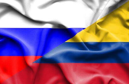 columbia: Waving flag of Columbia and Russia
