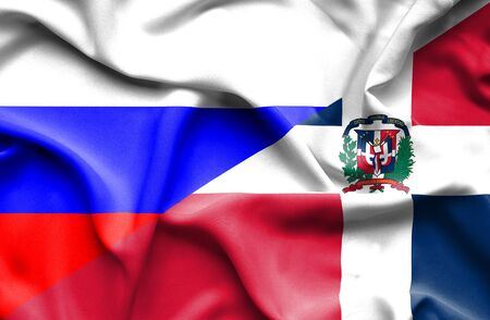 dominican republic: Waving flag of Dominican Republic and Russia