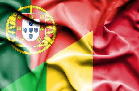 portugese: Waving flag of Mali and Portugal Stock Photo