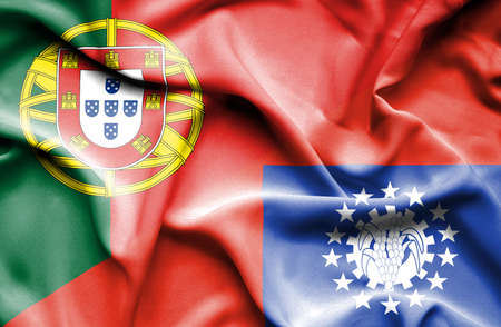 portugese: Waving flag of Myanmar and Portugal