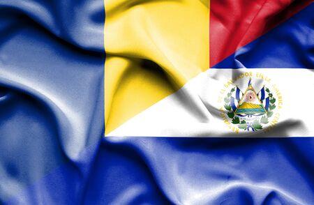 el salvador: Waving flag of El Salvador and Romania