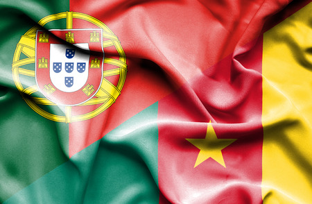 cameroonian: Waving flag of Cameroon and Portugal