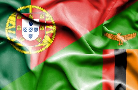 zimbabwe: Waving flag of Zimbabwe and Portugal