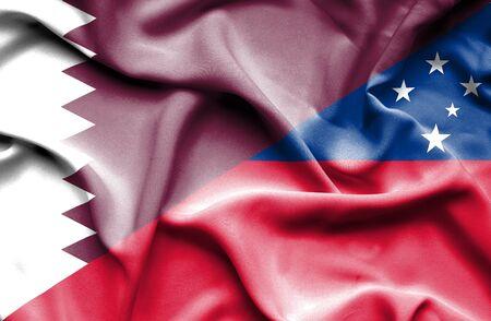 samoa: Waving flag of Samoa and Qatar