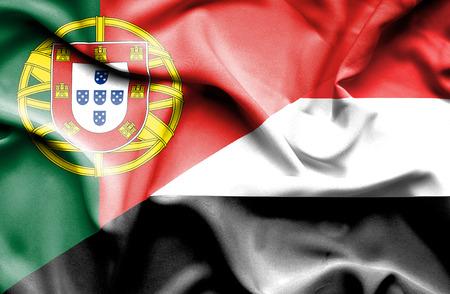yemen: Waving flag of Yemen and Portugal