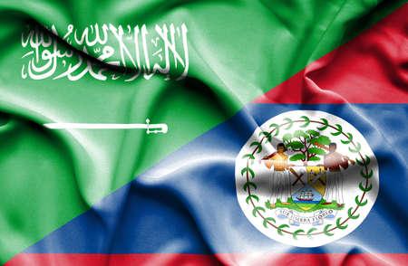 saudi arabia: Waving flag of Belize and Saudi Arabia