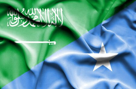 somalian culture: Waving flag of Somalia and Saudi Arabia Stock Photo