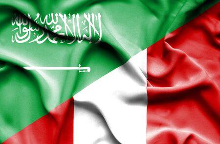 saudi arabia: Waving flag of Peru and Saudi Arabia Stock Photo