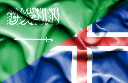 arabia: Waving flag of Iceland and Saudi Arabia