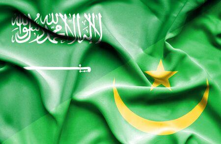 saudi arabia: Waving flag of Mauritania and Saudi Arabia