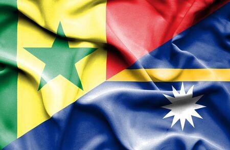 nauru: Waving flag of Nauru and Senegal Stock Photo