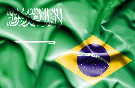 arabia: Waving flag of Brazil and Saudi Arabia