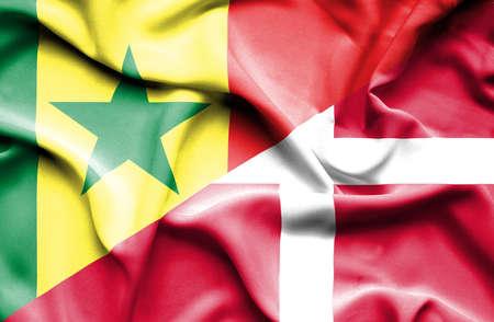 senegal: Waving flag of Denmark and Senegal