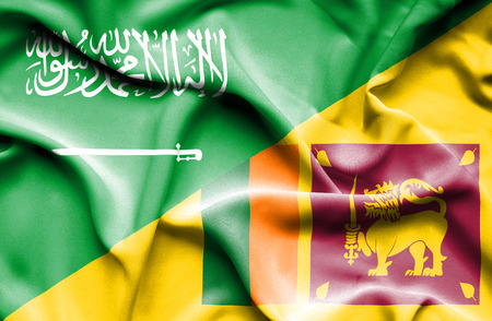 sri lankan flag: Waving flag of Sri Lanka and Saudi Arabia