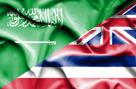 saudi arabia: Waving flag of Hawaii and Saudi Arabia Stock Photo