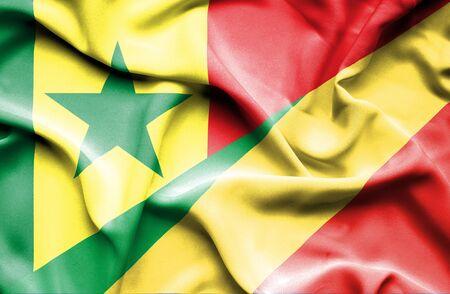 Congo: Waving flag of Congo Republic and Senegal