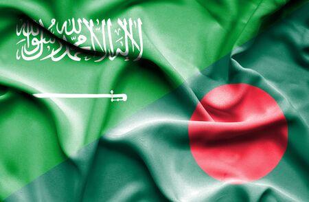 saudi arabia: Waving flag of Bangladesh and Saudi Arabia Stock Photo