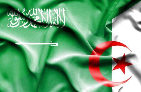 saudi arabia: Waving flag of Algeria and Saudi Arabia