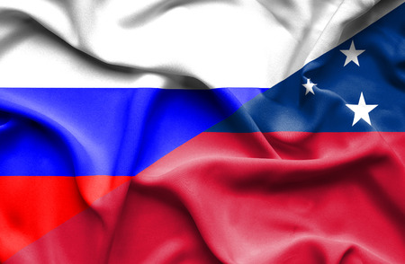 samoa: Waving flag of Samoa and Russia